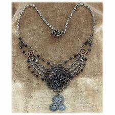 Steampunk Necklace Delicate Multi Gear & Bead Design Victorian Costume Necklace