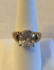 Gold Vermeil Sterling Silver Oval CZ Engagement Ring Sz 8.25 Filigree 6 Ct MEI