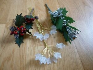 Bits & Bobs of Acrylic gold wired Clear Leaves & Christmas Holly Sprays-Crafter