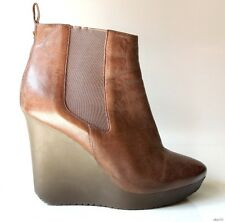 JIMMY CHOO brown 38 8 leather wedge ANKLE BOOTS $800 gorgeous