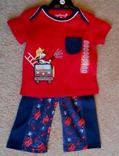 New Firetruck Boys Agabang 12 Months Navy Pants Red Shirt Outfit Embroidered