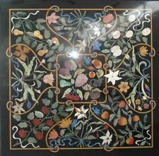 """24""""x24"""" Marble Hallway Dining Top Table Marquetry Inlay Art Decor"""