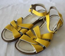 SALT-WATER SANDALS ~ Yellow Patent Leather Side Buckle Sandals US 5 EU 37
