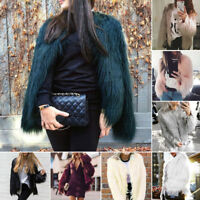 Womens Long Sleeve Faux Fur Fox Coat Jacket Thick Winter Warm Outwear Cardigan
