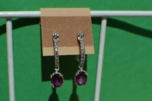3.35ct Purple Topaz / Zircon Dangle Earrings Platinum Plated 8x6mm VVS