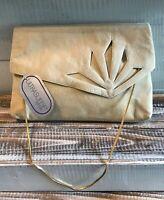 "Vintage NWT 80's Reva Ultrasuede Women's Handbag Purse Bag Beige Suede 10"" Chain"