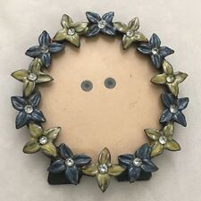"""Blue Green Floral Rhinestones 4"""" Round Picture Frame Holds 3"""" Photo"""