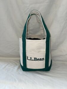 Vintage LL Bean Small Boat And Tote Bag Green and Cream