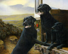 More details for nigel hemming wild rovers print, labrador gun dogs art canine gift #1
