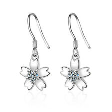 Ladies Elegant 925 Sterling Silver CZ Sun Flower Hook Dangle Earrings