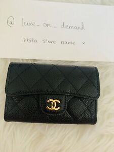 Chanel Classic Flap Cardholder Wallet Black Gold Brand New