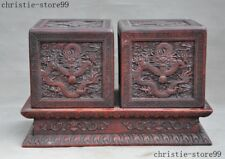 Old China Redwood Hand Carved Base Denon Dragon Loong Beads Statue Seal Box Pair