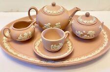 ❤️Wedgewood Jasperware Tea Set Pink Mini Miniature ☕️ 8 Piece Vintage Heirloom❤️