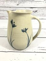 Studio Art Pottery Hand Thrown Pitcher Signed Earth Tones With Blue Flowers