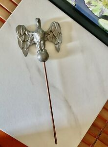 """Vintage metal pewter eagle flag pole topper finial 11""""/4"""" weather vane top small"""