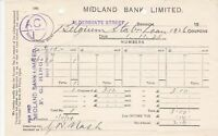 MIDLAND BANK LIMITED Belgium Station Loan Coupons Dividends 1928 Receipt Rf45995