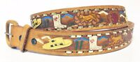 Vintage Leather Western Hand Tooled Painted Belt Women's/Mens Size 42 Mexico