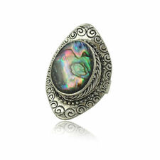 Handmade Vintage Mother of Pearl Abalone Sea Shell 925 Sterling Silver Ring