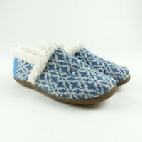TOMS House Slippers Fair Isle Blue Youth Kids Multiples Sizes