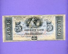 1800's $5 Citizens' Bank Of Louisiana at New Orleans CRISP NOTE SMALL TEAR