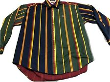 Vintage Tommy Hilfiger Button Up Striped Color Block Super RARE Mens Sz XL Used