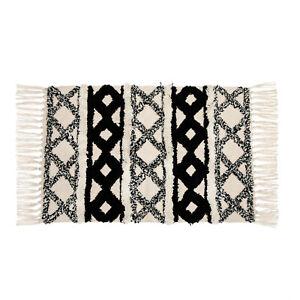 Scandi Boho Rug Cotton White Tassel Rug Rectangle Geometric Stylish Design
