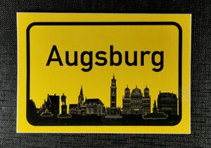 Aufkleber Ortschild Augsburg mit Skyline