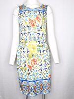 Boston Proper Size 6 Sheath Dress Floral & Lemon Print White Blue Yellow Multico