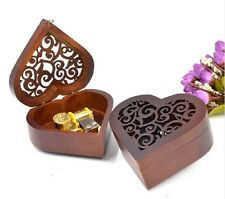Heart Carving Wood Wind Up Music Box  : CANON IN D