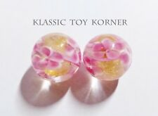 "*NEW!* 2 MINIATURE HANDMADE GLASS MARBLES FLORALS ""GOLD DUST FLORA"" 16mm PLAYERS"