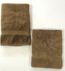2 Ralph Lauren Terry BATH Towels Plush Sienna Brown Tan 31x54 in 100% Cotton