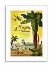 AIRLINE LOS ANGELES CALIFORNIA PALM USA Poster Vintage Canvas art Prints