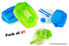 2 Pack Plastic Bento Lunch Box Set Food Storage Containers With Fork and Knife