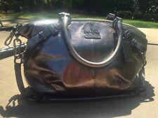 COACH Madison Metallic Leather Sophia Gunmetal Silver Satchel Shoulder Bag 18816