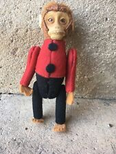 Antique Monkey BellHop Perfume Holder c1930s Felt & Mohair Plush By Schuco