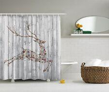 Winter Holiday Reindeer Christmas Fabric Shower Curtain Digital Bathroom