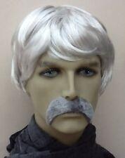 Grey Men's Short Fancy Dress Wig & Thick Droop Moustache. Uk Dispatch