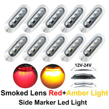 """10 Pcs 4 LED 3.6"""" RV Truck Smoked Lens submersible 5 Red 5 Amber Side LED Marker"""