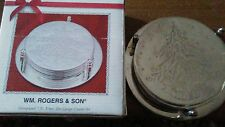 Rogers & Son Silver plated 7 piece Christmas Tree Design Coaster Set used