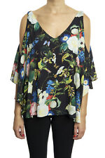 Joseph Ribkoff Blk/Multicolor Floral Print Cold Shoulder Top US8 UK10 NEW 181630