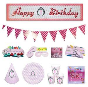 77pce Pink Princess Polka Dot Stripe Colour Party Set Birthday Kids Event Bundle