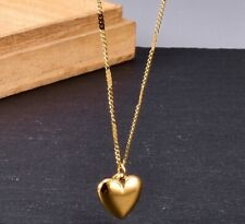 Women Titanium Stainless Steel Gold Heart Love Pendant Necklace 16-18""