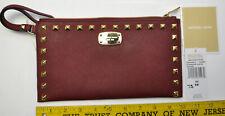 Michael Kors Saffiano Studded Zip Clutch Bag Cherry Fm9