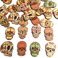 50Pcs/Set Mixed Wooden Skull Shaped Buttons Sewing Scrapbook Crafts DIY
