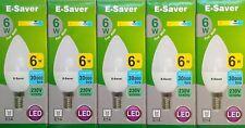 5x E-Saver, Energy Saving LED Candle Light Bulbs, 6w, Cool White, E14 Screw