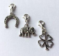 3 x clip on charm bracelet four leaf clover elephant horseshoe good luck