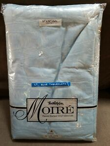 Town Country Vintage Tablecloth Flannel Back Vinyl Square 52 x 70 Blue NOS