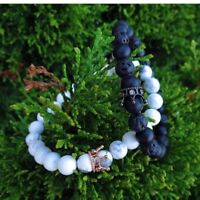 His & Hers Distance Couples Bracelet Lava Bead YinYang Matching Anniversary Gift