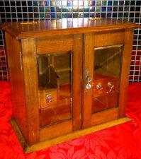Antique Edwardian Oak Smokers Cabinet Desktop Box -Bevelled Glass-Lock and Key-