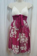Studio M Dress Sz XS Berry Ivory Floral Print Cotton Silk Blend Casual Sun Dress